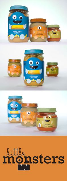 Little Monsters!  Baby Food Packaging by Samantha Angel does a great job of telling a story while still being fun for parents and kids alike. It's eye catching (you would pick this up off a crowded shelf) and totally unique. #RetailPackaging