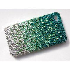 Pacific Sea Foam Green Gradient iPhone 4S 4 Case Cover Swarovski Crystal Element