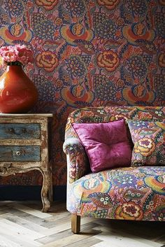 Liberty Art Fabric Patricia Linen Union in Spice from the Nesfield collection by Liberty Art Fabrics London. A large Oriental floral with stylised flowers, likely to have been cre