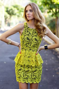 """Yellow lace peplum dress from a brazilian brand named """"printing"""" which only sells in a local store in Rio"""