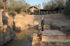 Putin looking at the site where Jesus is believed to have been baptized in Jordan.   48 Photos Of Vladimir Putin Looking At Things