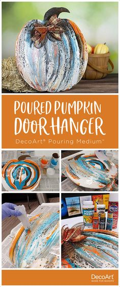 This fun and fast poured pumpkin created with DecoArt® Pouring Medium™ makes a great weekend project for family and friends. Halloween Door Hangers, Fall Door Hangers, Burlap Door Hangers, Fall Pumpkin Crafts, Thanksgiving Crafts, Fall Crafts, Pumpkin Snowmen, Paint Stir Sticks, Pumpkin Door Hanger