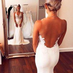V Neck Applique Beach Wedding Dress Sexy Backless White Ivory Bridal Gown Custom