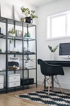 All white Scandinavian office with black details