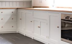 Birch plywood cabinets with hand painted hardwood frames (Farrow and Ball Estate Eggshell, Pale Powder). Kitchen Larder Cupboard, Larder Unit, Plywood Cabinets, Painting Oak Cabinets, Shaker Style Kitchens, Shaker Kitchen, Kitchen Interior, Kitchen Design, Kitchen Ideas