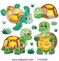 Cartoon of Cute Turtles - Royalty Free Vector Illustration by visekart