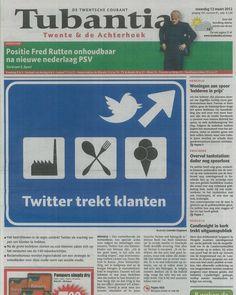 Interview van Gerben en Luuk over Twitter met de TC Tubantia op de voorkant op 12 maart 2012.