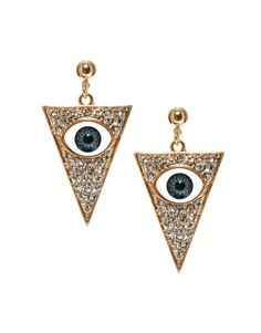 ASOS Eye Triangle Earrings, I'm wearing these to freak my friends out because the eye in the triangle symbolizes the illuminati and they are obsessed with it