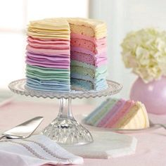 A rainbow cake is fun to look at and eat and a lot easier to make than you might think. Here's a step-by-step guide for how to make a rainbow birthday cake. Pretty Cakes, Cute Cakes, Beautiful Cakes, Amazing Cakes, Kreative Desserts, Petit Cake, Pastel Cakes, Pink Cakes, Pastel Party