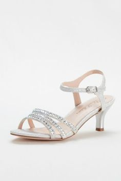 Add a pop of sparkle to your look with these crystal embellished low heel sandals!  Quarter strap