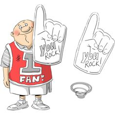 ART IMPRESSIONS Cling Rubber Stamps - People 7x4, SPORTS FAN