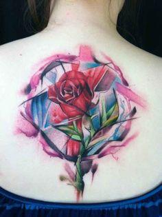 watercolo rose tattoo on back - 40 Eye-catching Rose Tattoos  <3 <3