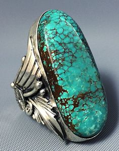 22g HUGE Pawn Navajo Sterling Silver HIGH GRADE SPIDERWEB Turquoise Ring Sz 7.75