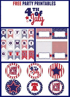 Great Free Printable July 4th Party Set from LDS Printables, featured @printabledecor1