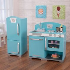 Blue Retro Kitchen and Refrigerator : Target