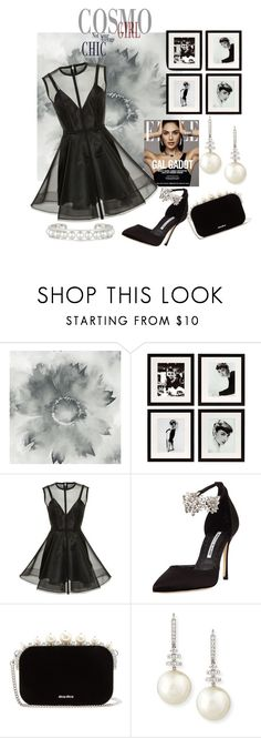 """""""Little Black Dress And Bling"""" by lensesrmything ❤ liked on Polyvore featuring Eichholtz, Alex Perry, Manolo Blahnik, Miu Miu and Belpearl"""