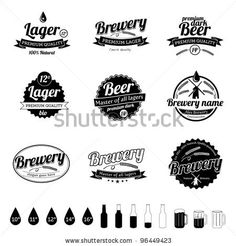 Collection of premium quality Beer / Brewery template Labels in old retro vintage design - stock vector