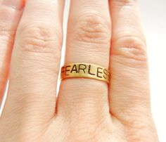 Positive Mantra Ring FEARLESS. i have no more fear. i survived the devil, and hell, itself.