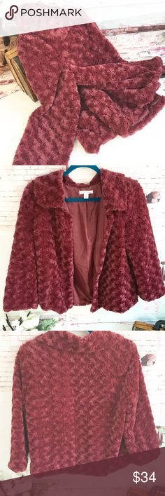 "FAUX FUR Dark Blush Jacket, Size Small FAUX FUR Dark Blush Jacket, Size Small Cute retro looking jacket.  Has lining.  Sleeves are a bit longer than 3/4, but I don't think they are regular length.  Chest measures Approx 20"", Shoulder to shoulder approx 17"" and Length approx 24"".  NWOT Jackets & Coats"