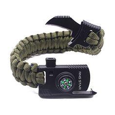 15in1 Outdoor Survival Flint Fire Starter Paracord Braclet Whistle Gear Buckle U