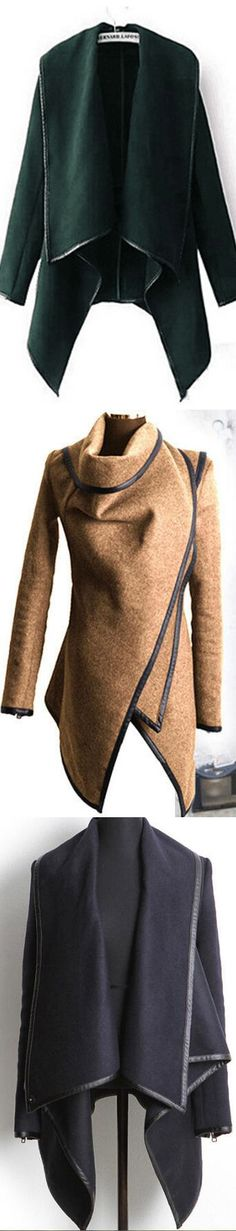 It's so cute! The wool coat with long sleeve and irregular design.$33.99 & Free shipping!It will keep all eyes on you.Get more surprise at Romoti.com