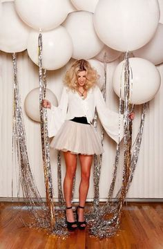 Glam up your New Year's Eve party balloons with some silver tassels. – Brit Morin Glam up your New Year's Eve party balloons with some silver tassels. Glam up your New Year's Eve party balloons with some silver tassels. Nye Party, Festa Party, Party Fun, 30th Party, Disco Birthday Party, 30th Birthday Parties, Casino Party, 30th Bday Ideas, 30th Birthday Outfit Ideas For Women