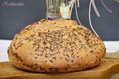 Koskacukor: Lenmagos-tejfölös tönköly kenyér Naha, Bagel, Bread, Food, Brot, Essen, Baking, Meals, Breads