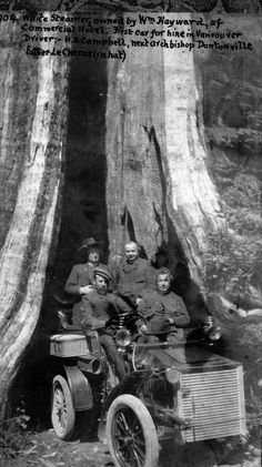 First Taxi, 1904 H.E. Campbell drove the first car for hire in Vancouver, seen here in front of the Hollow Tree. The taxi was owned by William Hayward, owner of the Commercial Hotel (on Cambie, where Pub 340 is today). Source: City of Vancouver...