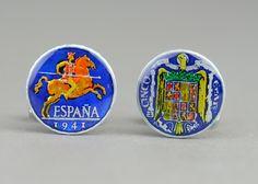 Spanish Cufflinks - Antique coins - Gemelos peseta España. $39.00, via Etsy.