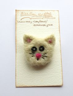 Needle felted brooch - cat felted brooch - cat pin - fibre pin - needle felted pin - animal  brooch - clothing accessory - uk seller by itsaMessyNest on Etsy