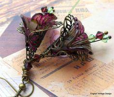 Lucite Flower Earrings, Victorian Earrings, Boho Earrings, Drop Earrings, Handmade Earrings, Burgundy Dangle Earrings, Hand Painted. Vintage