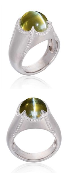 A CAT'S EYE CHRYSOBERYL AND DIAMOND RING Set with a cabochon cat's eye chrysoberyl, to the matte-finished 18k white gold hoop, accented by brilliant-cut diamond details, mounted in 18k white gold