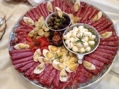 Anti Pasti Platters with Assorted Cured Meats, Fresh Cheeses and Olives, Marinated Veggies #wedding #buffet