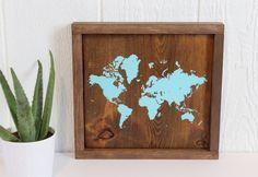 Wood Map, Rustic Wall Decor, Nursery Art, World Map, Wooden World Map, Handmade Item, Reclaimed Wood, Nursery Décor, Gallery Wall, Turquoise by TealBlueStudio on Etsy