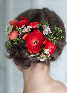 Gorgeous flower-strewn hair inspo for weddings, formals, or just feeling fancy!