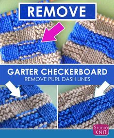 How to Remove Purl Dash Lines - Knit Stripes with Studio Knit #StudioKnit #knitting