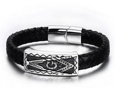 Free Mason Bracelet Freemasonry Comfort Wristband Leather Masonic Jewelry 8.7''