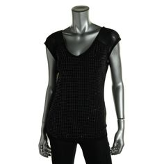 INC Womens Mesh Embellished Pullover Top