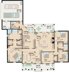 Country Style House Plans - 2393 Square Foot Home , 1 Story, 4 Bedroom and 2 Bath, 2 Garage Stalls by Monster House Plans - Plan 18-407 by dottti