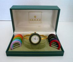dda426b6417 Vintage Authentic GUCCI Bangle Bezel Interchangeable Watch In Box