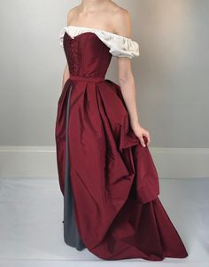 Renaissance Bodice Overbust or Underbust Corset in Dark Red Renaissance Corset, Renaissance Clothing, Renaissance Festival Costumes, Renaissance Fair, Steampunk Clothing, Gothic Steampunk, Victorian Gothic, Steampunk Fashion, Gothic Lolita
