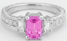 Emerald Cut Pink Sapphire Engagement Rings