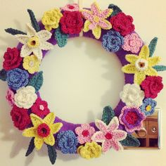 My spring crochet wreath