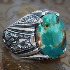 925 Sterling Silver men's ring with Turquoise Firoza unique handcrafted jewelry | Jewelry & Watches, Men's Jewelry, Rings | eBay!