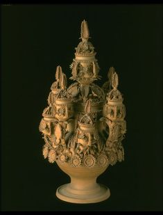 """1872 Spanish Vase at the Victoria and Albert Museum, London - From the curators' comments: """"Essentially, this large and complex vessel is a container with nine cups attached - one forming the cover, four surmounting handles attached to the body and a further four attached directly to the body itself. It is a fantastical blend of the robust and the delicate, with a sturdy thrown body and intricately applied decorative detail, every petal and every leaf being individually cut and modelled."""""""
