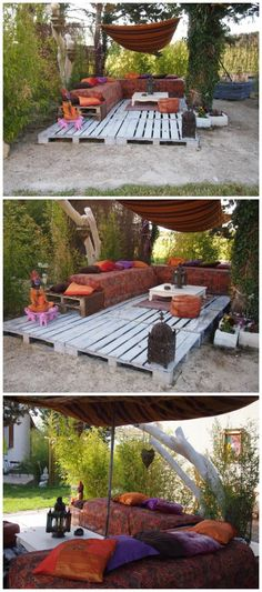 Great use of reclaimed wood pallets, build a deck! 0071 My pallets deck in garden with Terrace sofa Pallets Outdoor Lounge Pallet Crafts, Pallet Ideas, Pallet Projects, Diy Projects, Reclaimed Furniture, Diy Pallet Furniture, Furniture Decor, Outdoor Furniture, Industrial Furniture