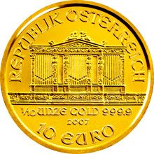 Mince o hmotnosti 1/10 Oz nese nominální hodnotu 10 Euro.