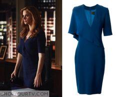 Suits: Season 5 Episode 8 Donna's Blue Draped Dress More