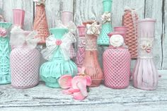 Lace and Roses SHABBY CHIC Mint and Pink Bud Vase Collection for Weddings, Showers, Receptions