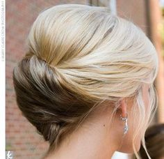 wedding hair -- simple twist. perfect for low veil